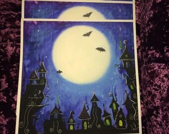 ART PRINT 42x42cm 'Full Moon Town'