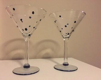 Two Blue Decorated Martini Glasses