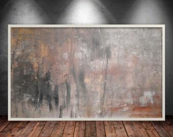 "original abstract acrylic painting large wall art modern contemporary huge gold XXL wall decor art by Sandra Luks, size: 35""x57"" (88x142 cm)"
