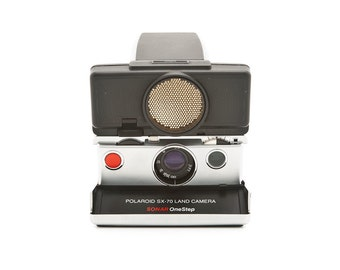 Polaroid SX-70 Land Camera Sonar OneStep with new Black leather covering - Vintage SX70 1980s auto focus - Tested - Guaranteed Working