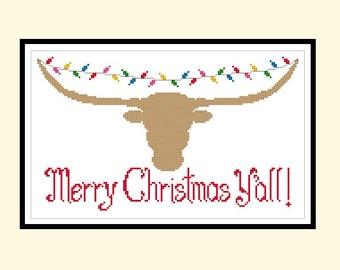 Texas Longhorn Christmas Lights Original Cross Stitch PDF Pattern Instant Download