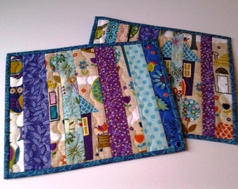Colorful Scrappy Mug Rugs, Colorful Mug Rug Set of Two, Handmade Snack Mats, Quilted Snack Mats, Quilted Mini Place Mats, Mini Quilt Set