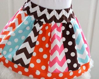 thanksgiving skirt fall skirt chevron skirt chevron polka dot skirt aqua pink and brown skirt back to school skirt family pictures skirt