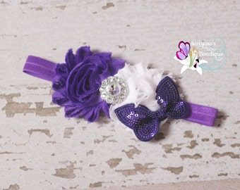 Purple White Shabby Flower Butterfly Rhinestone Headband. Baby Headband, Toddler Girl Headband, Butterfly Headband - SB-009BF