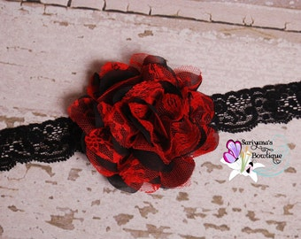 Red Black Chiffon Lace Flower Headband, Lace Headband, Flower Clip - Baby Girl Toddler Woman Vintage - SB-075a