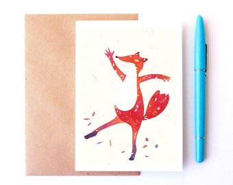 Dancing fox card, fox themed card, happiness, birthday card, children's gift ideas, woodland themed card, fine art print