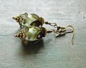 Green White Lampwork Flower Earrings, Brass and Glass Flower earrings, Bohemian lampwork earrings, Boho glass dangles, Woodland earrings,