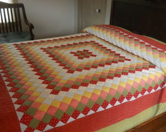 Excellent!   Pennsylvania Antique.    Trip Around the World Quilt.  Stunning  Fabrics.  Very Good Condition.