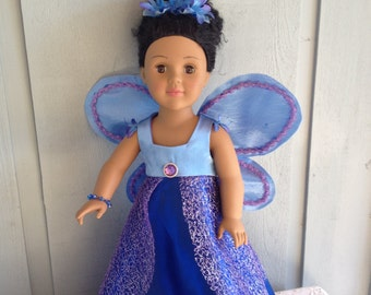 blue fairy dress with wings for 18 inch dolls