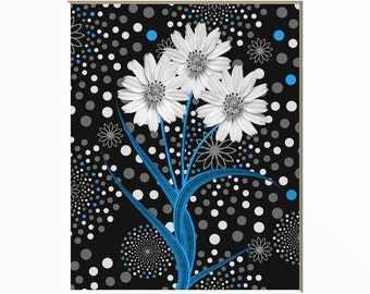 Black White Blue Modern Wall Art Photography/Blue Bathroom/Bedroom Floral Theme Wall Art Matted Picture