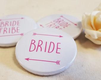 Heart Hen Do / Wedding / Team Bride / Bride Tribe Badge (A Set)