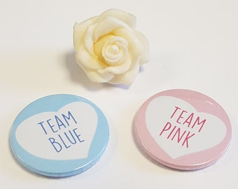 Pack of 2, Baby Shower - Reveal Baby Gender  Party - Team Blue Team Pink Team Girl Team Boy- Heart Design