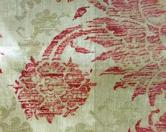 "Cotton Blend ""Eastern Floral"" Upholstery/Decor Fabric with fused backing, 2 yards"