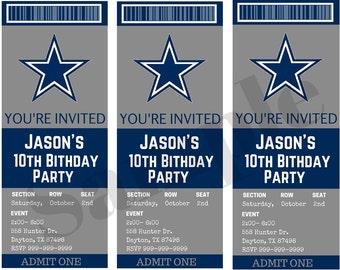 Dallas Cowboys Birthday Ticket Party Invitations...  Custom, Personalized DIGITAL FILE