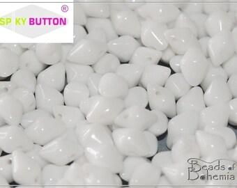 50 pcs Chalk White Czech Glass Spiky Button Beads 4.5x6.5 mm (10226)