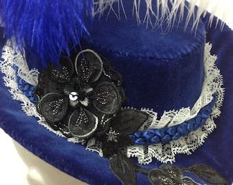 Small Victorian Riding Hat - Royal Blue Velvet Sweetheart Steampunk Fascinator OOAK