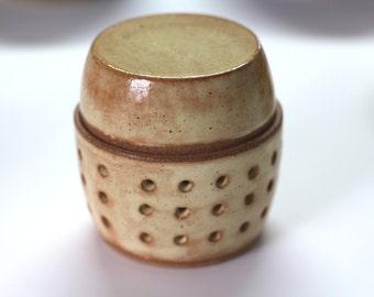 jar to store garlic green gray ceramic , handmade