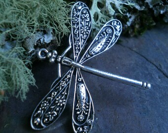 Antique Silver Dragonfly Cast Stamping