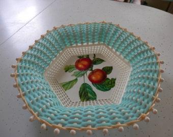 Vintage Plastona Turquoise Basket Apples*********Free Shipping