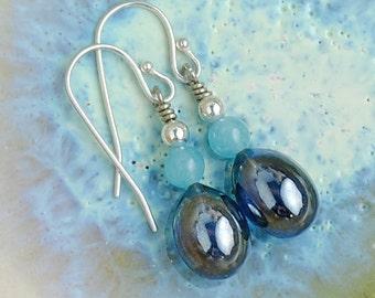 Lampwork Earrings, Blue Earrings, Glass Beads, Quartz Earrings, Lamp Work Bead, Dark Blue Earrings, Blue Danlge Earrings, Teardrop Earrings