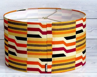Handmade 14 Inch Drum Lampshade in KENTE Fabric