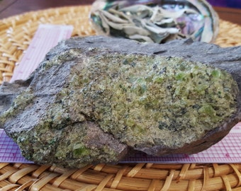 Peridot cluster, peridot bomb ~ 1 Reiki infused rough crystal cluster 6.5 x 4.7 x 2 inches (E02)