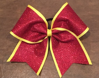 Cheer Bow - Red Glitter on Yellow