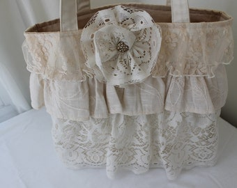 Lace ruffle purse