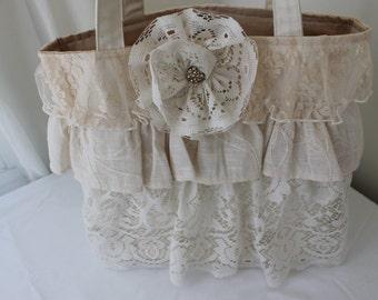 Lace ruffle purse