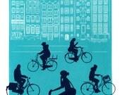 Amsterdam Cyclists Print, Limited Edition Hand Crafted Silkscreen (Screen Print), Aqua & Purple on Heavyweight stock.