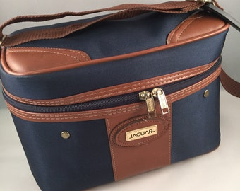 Canvas and Leather Train Case by Jaguar, Navy Blue, Great Condition