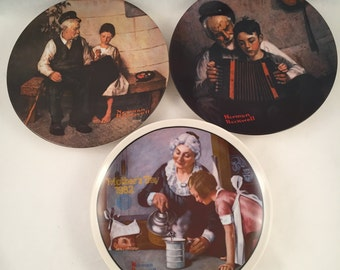 Set of Three Norman Rockwell Collector Plates, The Cooking Lesson, The Music Maker, The Lighthouse Keeper's Daughter, Knowles Fine China