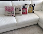 Chanel  Set of 4 design Inspired pillow case covers linen, pink peonies,yellow perfume, pink fuchsia perfume bottle, chanel N.5 logo