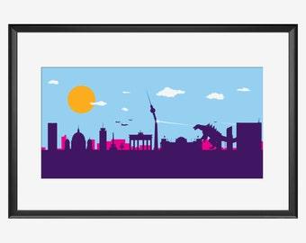 Berlin Skyline, Berlin print, Berlin poster, Berlin art, Berlin Germany, Godzilla inspired, Godzilla art, Godzilla print, Godzilla poster