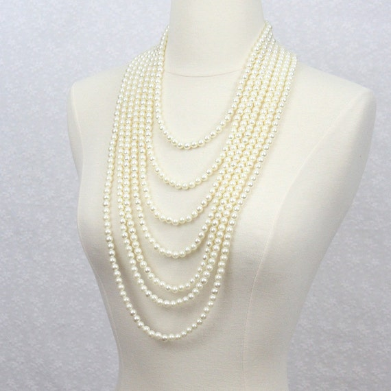 layered pearl necklace multi strand pearl necklace bridal