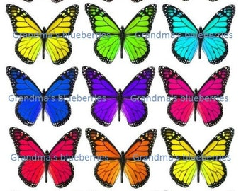 Edible Rainbow Butterfly Wafers Wedding Cake Toppers - Cake Decorations / Cupcake Topper Set of 15