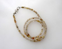 Golden Rutile Strand Beads, Faceted Beads, Diamond Cut Beads, Smooth Beads, Round Beads, Silver Necklace, 16-RI2014