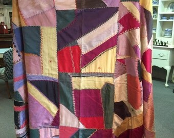 Antique Crazy Quilt with Embroidery
