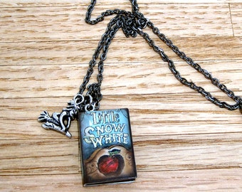 Snow White Book Necklace with Witch Charm.