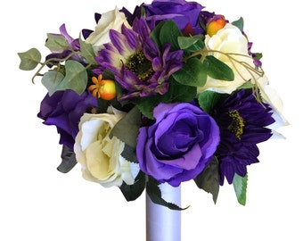 "10"" Natural Looking Bouquet - Shades of Purple, Ivory, Sunflower and Rose Bouquet"