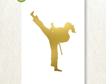 Gold Foil Karate Print, Sports Art Print, Silver Foil, Karate Poster, Girl's Karate Art