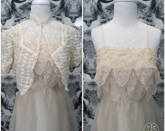 70s Cream Wedding Dress and Jacket Set / S / M