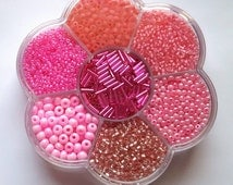 Pink Seed Bead Assortment in Flower Shaped Container - Gift for Beader