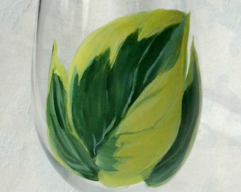 Hosta Leaf Wine Glass ~ Woodland Wedding ~ Handpainted Hostas ~ Beach Cottage Decor ~ Mothers Day Gift