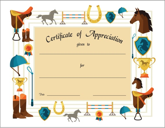 Certificate of appreciation printable for english saddle certificate of appreciation printable for english saddle riding sports theme equestrian horses illustrated 11 x 85 can be customized yadclub Images