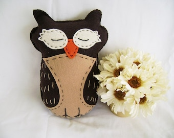 Felt Owl Stuffed Animal, Stuffed Felt Owl Toy, Children's Owl Toy, Hand Stitched Decorative Owl, Stuffed Owl, Owl Friend