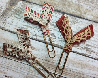 Vintage Fall - Set of 3 Planner Clips / Bookmarks