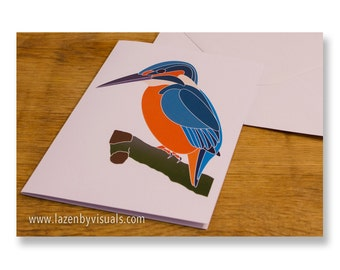 The Kingfisher Greetings Card - Designed by Lazenby Visuals - Replica of limited edition print - Blank inside