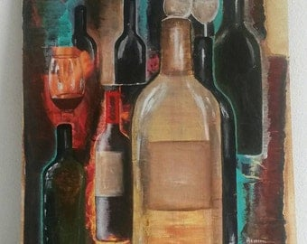 Wines 30 x 40 cm acrylic painting with paper on wood house warming gift