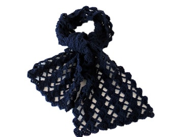 "Navy Blue Crochet Scarf - Unique Dark Blue Scarf - Handmade Winter Scarf (60"" x 8"")"